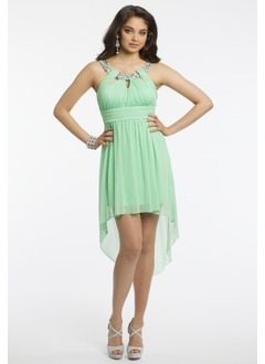 Empire Scoop Neck Asymmetrical Chiffon Homecoming Dress With Ruffle Beading