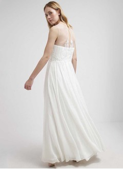 A-Line/Princess Scoop Neck Floor-Length Chiffon Lace Wedding Dress With Ruffle Appliques Lace