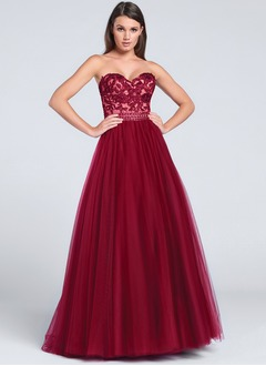 A-Line/Princess Strapless Sweetheart Sweep Train Tulle Prom Dress With Beading Appliques Lace (0185119461)