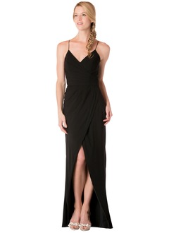 Sheath/Column V-neck Floor-Length Chiffon Bridesmaid Dress With Ruffle Split Front