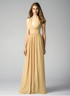 A-Line/Princess Halter Floor-Length Chiffon Prom Dress With Ruffle