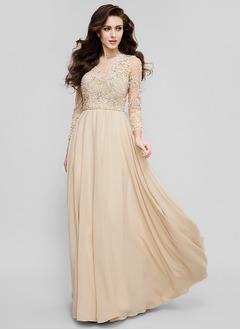 A-Line/Princess Scoop Neck Floor-Length Chiffon Evening Dress With Beading Appliques Lace