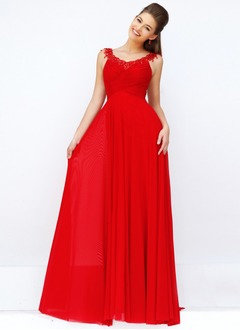 A-Line/Princess V-neck Sweep Train Chiffon Evening Dress With Ruffle Beading Appliques Lace