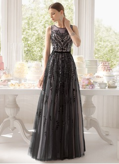 A-Line/Princess Scoop Neck Floor-Length Satin Tulle Evening Dress With Sequins