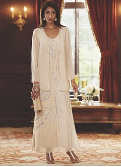 Sheath/Column V-neck Ankle-Length Chiffon Mother of the Bride Dress With Sequins