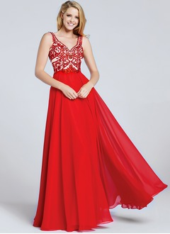 Empire V-neck Floor-Length Chiffon Prom Dress With Beading Appliques Lace