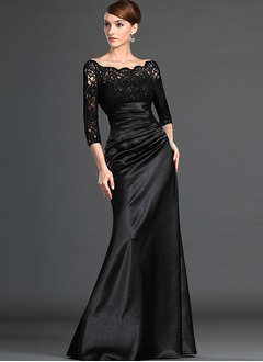 Sheath/Column Off-the-Shoulder Floor-Length Charmeuse Lace Evening Dress With Ruffle Beading