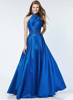 A-Line/Princess Halter Floor-Length Taffeta Prom Dress With Beading