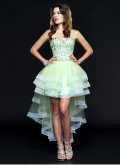 A-Line/Princess Strapless Sweetheart Asymmetrical Satin Tulle Prom Dress With Beading