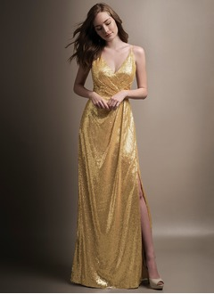 A-Line/Princess V-neck Floor-Length Sequined Bridesmaid Dress With Split Front