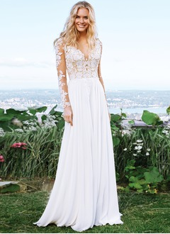 A-Line/Princess V-neck Sweep Train Chiffon Wedding Dress With Lace Appliques Lace
