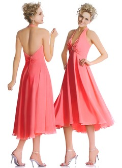 A-Line/Princess Halter Asymmetrical Chiffon Bridesmaid Dress With Ruffle Beading
