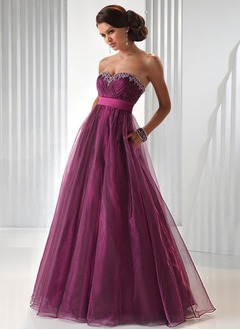Ball-Gown Sweetheart Floor-Length Organza Satin Prom Dress With Ruffle Sash Beading