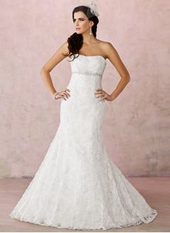 Trumpet/Mermaid Sweetheart Court Train Satin Lace Wedding Dress With Beading