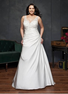 A-Line/Princess V-neck Court Train Satin Wedding Dress With Ruffle Beading