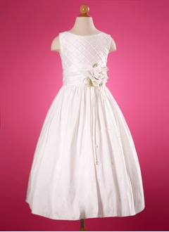 A-Line/Princess Scoop Neck Floor-Length Taffeta Flower Girl Dress With Ruffle (01005009691)