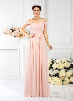 A-Line/Princess Sweetheart Off-the-Shoulder Floor-Length Chiffon Bridesmaid Dress With Ruffle Flower(s)