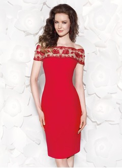 Sheath/Column Off-the-Shoulder Knee-Length Jersey Evening Dress With Lace Beading Sequins