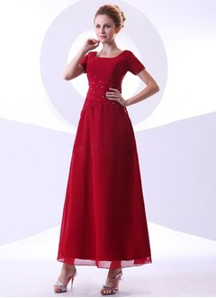 A-Line/Princess Square Neckline Ankle-Length Chiffon Mother of the Bride Dress With Ruffle Beading