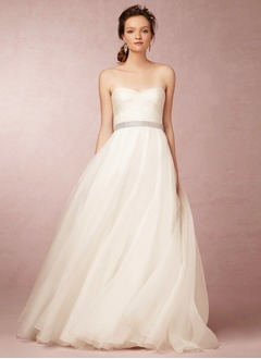 A-Line/Princess Strapless Sweetheart Sweep Train Organza Wedding Dress With Ruffle Beading