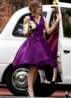 V-neck Knee-Length Organza Bridesmaid Dress With Ruffle Sash Bow(s)