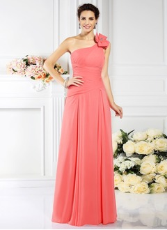 A-Line/Princess One-Shoulder Floor-Length Chiffon Bridesmaid Dress With Ruffle Beading Bow(s)