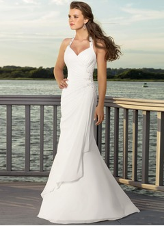Trumpet/Mermaid Halter Floor-Length Chiffon Satin Wedding  ...