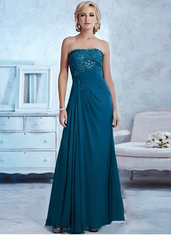 Empire Strapless Sweetheart Floor-Length Chiffon Lace Mother of the Bride Dress With Beading Appliques Lace