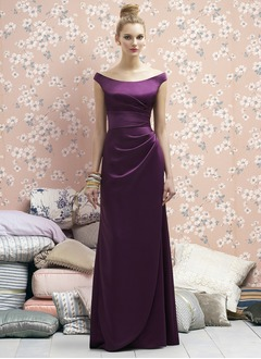 Linjeform Off-the-Shoulder Gulvlengde Satin Brudepikekjole  ...