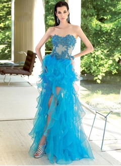 A-Line/Princess Sweetheart Floor-Length Organza Prom Dress With Lace Beading Sequins Cascading Ruffles