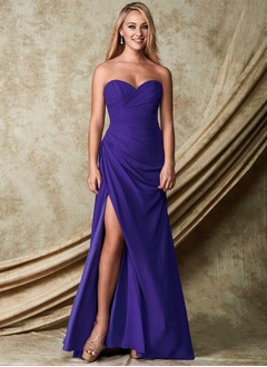 Sheath/Column Sweetheart Floor-Length Chiffon Bridesmaid Dress With Ruffle Split Front