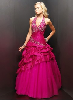 Ball-Gown Halter Floor-Length Taffeta Tulle Quinceanera Dress With Embroidered Ruffle Beading