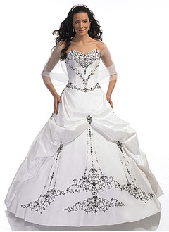 Ball-Gown Strapless Sweetheart Floor-Length Taffeta Quinceanera Dress With Embroidered Beading