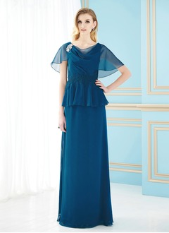 A-Line/Princess Cowl Neck Floor-Length Chiffon Mother of the Bride Dress With Ruffle Appliques Lace Crystal Brooch