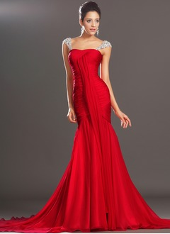 Trumpet/Mermaid Sweetheart Court Train Chiffon Evening Dress With Ruffle Beading
