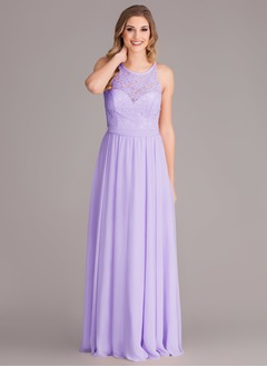 A-Line/Princess Scoop Neck Floor-Length  ...