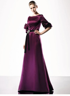 A-Line/Princess Scoop Neck Floor-Length Satin Mother of the Bride Dress With Ruffle Sash