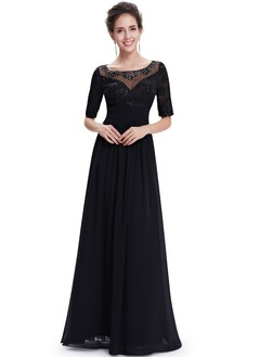 Sheath/Column Scoop Neck Floor-Length Chiffon Lace Evening Dress With Beading