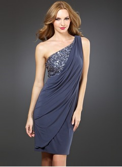 Sheath/Column One-Shoulder Knee-Length Chiffon Charmeuse Cocktail Dress With Ruffle Lace