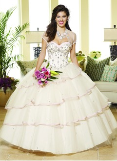 Ball-Gown Sweetheart Floor-Length Organza Charmeuse Quinceanera Dress With Sash Beading