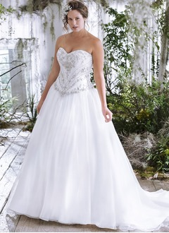 Ball-Gown Strapless Sweetheart Chapel Train Organza Wedding Dress With Beading Appliques Lace