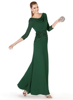 Sheath/Column Cowl Neck Floor-Length Chiffon Evening Dress With Beading Sequins