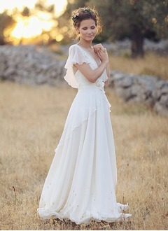 A-Line/Princess V-neck Sweep Train Chiffon Wedding Dress With Beading Flower(s)