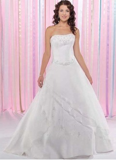 Ball-Gown Strapless Sweetheart Floor-Length Organza Satin Tulle Quinceanera Dress With Beading