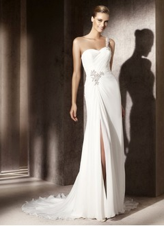 Sheath/Column One-Shoulder Court Train Chiffon Wedding Dress With Ruffle Beading Split Front