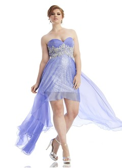 Empire Strapless Sweetheart Asymmetrical Chiffon Sequined Prom Dress With Beading