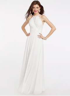 A-Line/Princess Halter Floor-Length Chiffon Lace Prom Dress With Lace