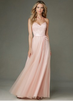 A-Line/Princess Sweetheart Floor-Length Tulle Bridesmaid Dress With Beading