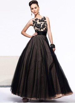 Ball-Gown Scoop Neck Floor-Length Tulle Prom Dress With Embroidered Sequins