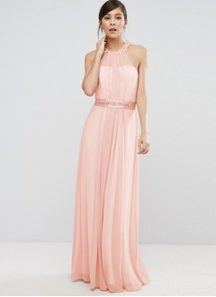 A-Line/Princess Halter Floor-Length Chiffon Bridesmaid Dress With Sash Beading